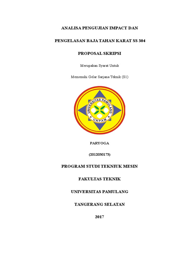 Cover Proposal Skripsi Universitas Pamulang