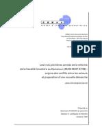 Les trois premières années de la réforme de la fiscalité forestière au Cameroun (95/96-96/97-97/98)