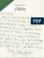 Aunali Khaku UCF medical student thank you recommendation note
