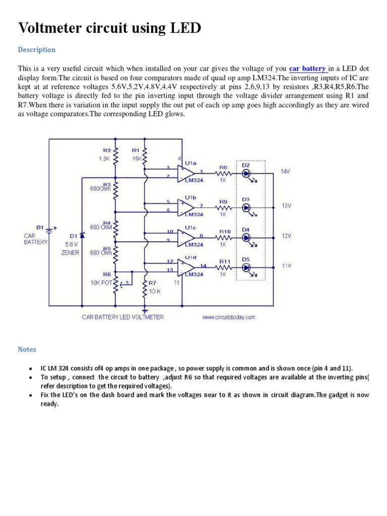 Voltmeter Circuit Using Led Car Battery Volt Meter 1536314029v1