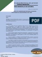 Ordenanza Municipal N°  007-REGLAMENTO DE MERCADO