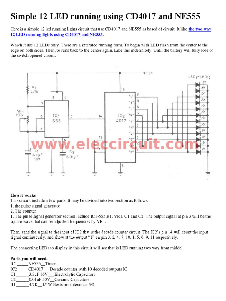 Simple 12 Led Running Using Cd4017 And Ne555 Pulse Generator Circuit By Ic 555 Timer 1536245044v1