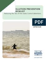 Oil Spills Prevention Check-list
