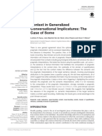Context in Generalized Conversational Implicatures the Case of Somej- Anne Reboul