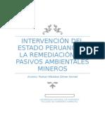 Intervención Del Estado Peruano en La Remediación de Pasivos Ambientales Mineros