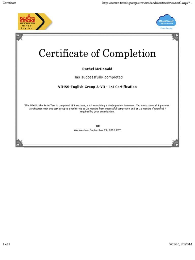 Certificate Nih Stroke Scale