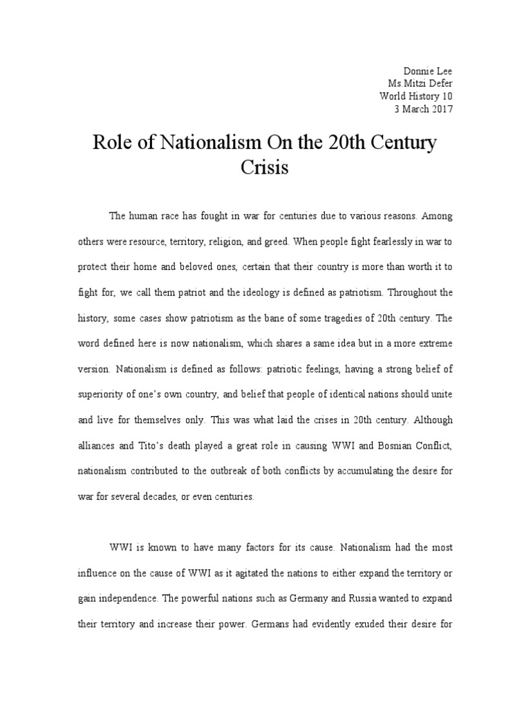 how did nationalism contribute to world war i