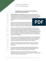 Comunicado de Prensa del Hon. Ricardo Roselló Nevares sobre la Determinación de DOJ, 13-abr.-2017