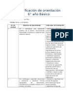 Planificación  anual de Orientación 6to