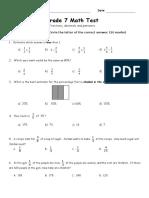 Grade 7 Fraction Test