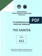 Naskah Soal SBMPTN 2014 Tes Kemampuan Dasar Sains dan Teknologi (TKD Saintek) Kode Soal 512 by [pak-anang.blogspot.com].pdf