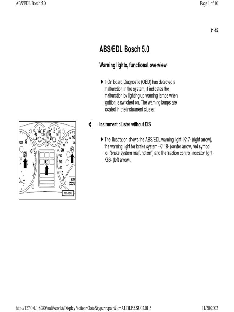 01-45 ABS-EDS Bosch 5 0 pdf | Anti Lock Braking System | Switch