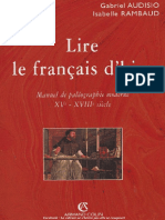 Lire Le Français d'Hier_Manu de Paléographie Mod (XVe-XVIIIe Siècle) - Gabriel Audisio_Isabelle Rambaud