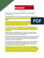 AHA Warns of Drug-To-Drug Interactions
