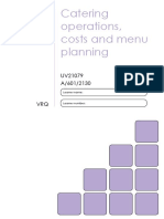 Catering Operations, costs and menu planning