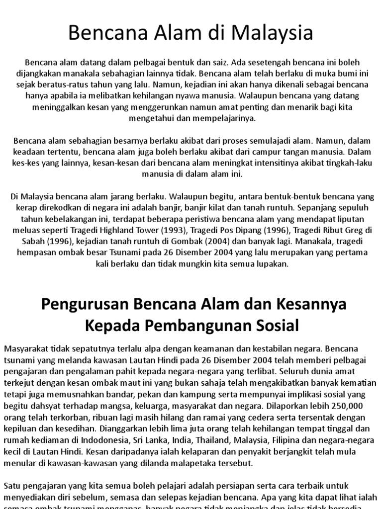 Bencana Alam Di Malaysia