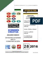 Portada Sección Gestión y Políticas Culturales. ADRIANA ALFONZO LUIS. Anuario ININCO VOL28 N°1 2016