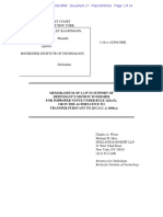Brief I/S/O motion to dismiss for improper venue or in the alternative to transfer; Estate of Stanley Kauffmann v. Rochester Inst. of Tech., 16-cv-2509-NRB (SDNY)