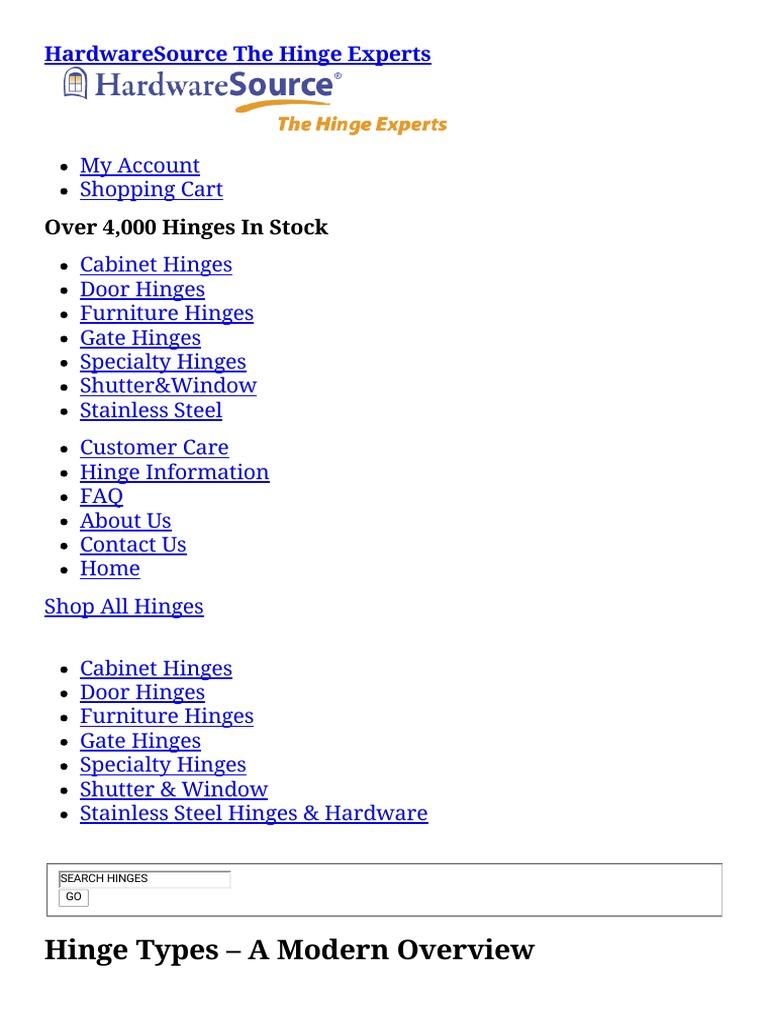 Hinge Types – a Modern Overview — HardwareSource com | Door