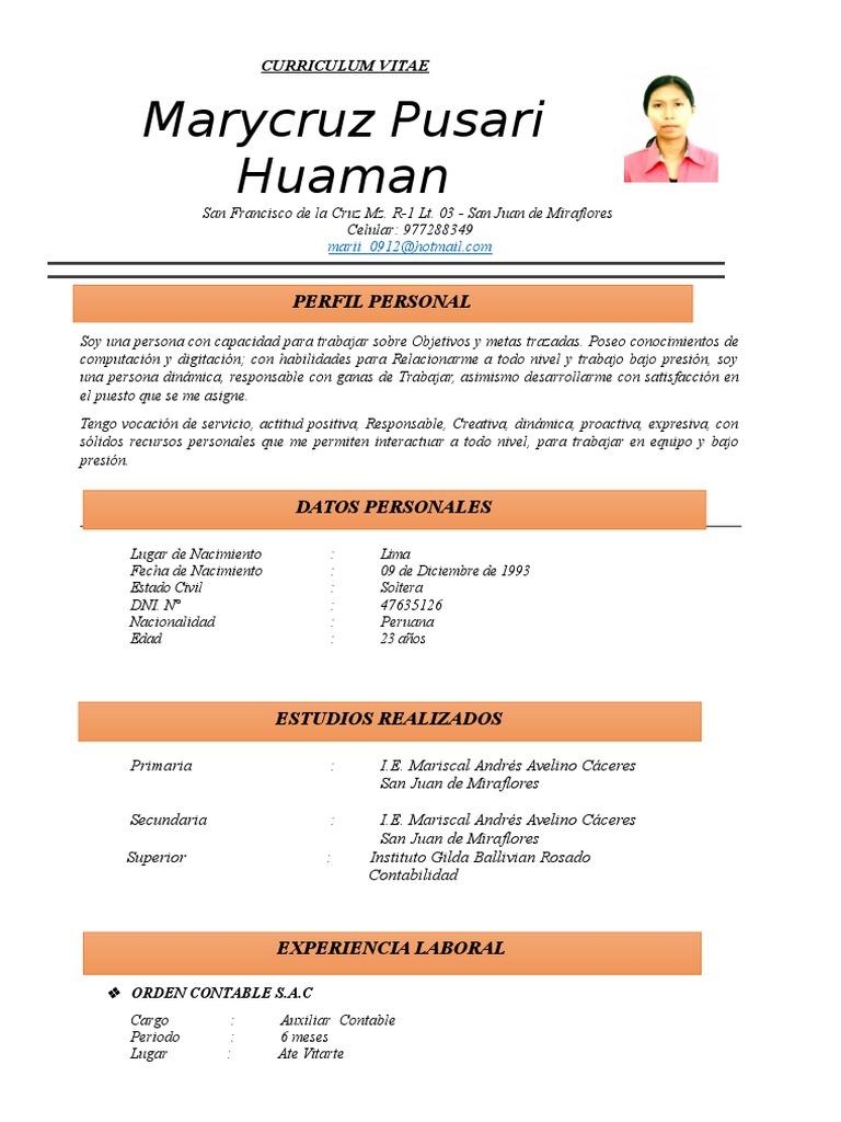 Curriculum Vitae Mujer