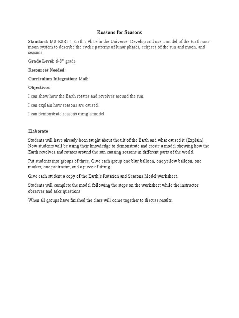 Worksheets Reasons For Seasons Worksheet reasons for seasons rotation earth