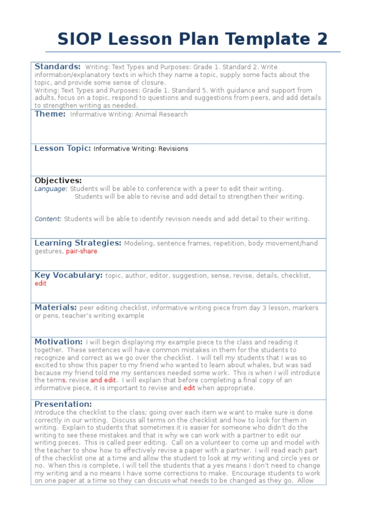 Excellent Siop Lesson Template Ideas Entry Level Resume - Siop lesson plan template 2