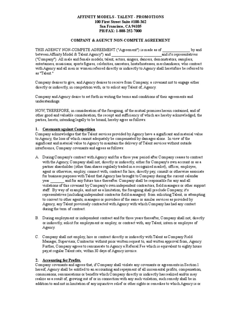 Company Agency Non Compete Agreement Consideration Independent