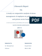 A Study on Stress Management in Public and Private Sector Banks