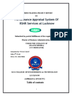 Performance Appraisal System of RSHR Services at Lucknow