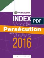 Index mondial de persecution des chretiens 2016