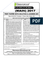 JEE Main 2017 Solution Paper 2 Code X