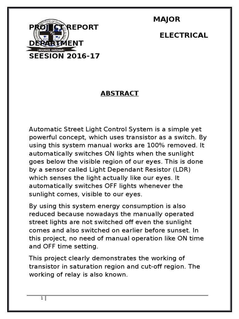 Autometic Street Light Controller | Electrical Resistance And ...