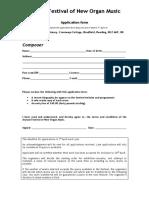 Annual New Organ Music Application Form 2009