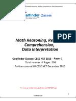 NET SET Math Logical Reading Comprehension Data Interpretation Aptitude