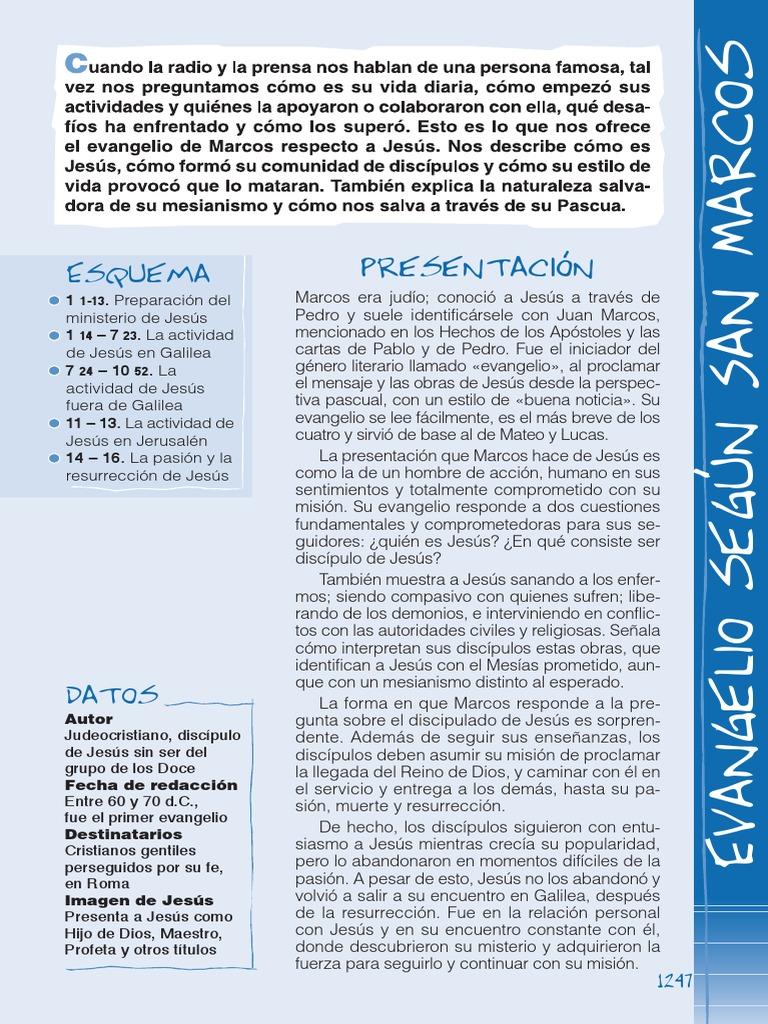 Biblia Catolica Para Jovenes Muestra Marcos Fe San Pedro