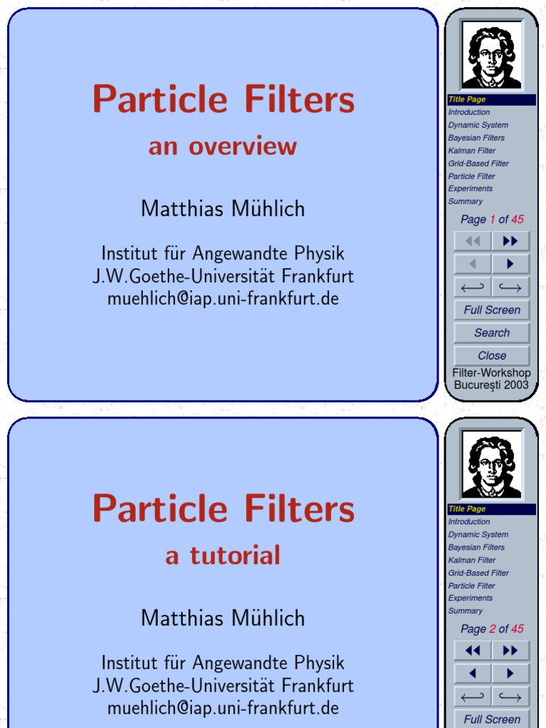 Particle filter an overview--printed pdf | Kalman Filter