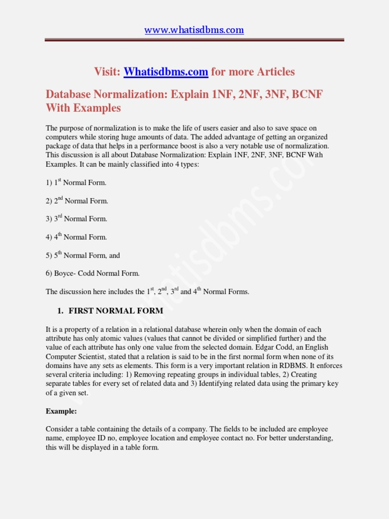 1nf 2nf 3nf Bcnf With Example Pdf