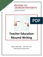 Teacher Education Resume