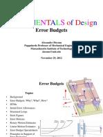 Precision Machine Design Error Budget