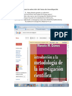 Selección Del Tema de Investigación DIRECCIONES