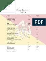 Orytgia Wine List