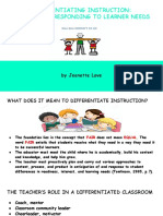 differentiating instruction- proactively responding to learner needs