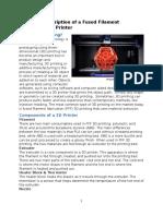 technical description of a fused filament fabrication 3d printer final