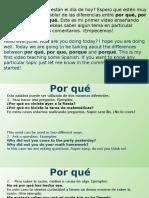 Diferencias entre WHY en español