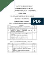 Airframe Maintenance & Repair Lesson Plan