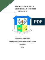 Plan _estudios Área Ética y Valores_ 16 Abril 2014