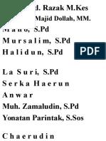 Daftar Nama Donatur Masjid AL - Ikhlas