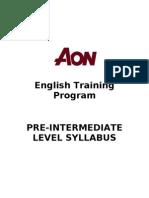 Pre Intermediate Syllabus