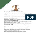 classical conditioning experiment procedure sheet