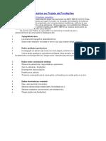 Elementos Necessários Ao Projeto de Fundações